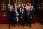 30 November 2018; Members of the EURO88 Republic of Ireland squad with, front row from left, John Delaney, CEO, Football Association of Ireland, UEFA President Aleksander Ceferin, FAI President Donal Conway and Lord Mayor of Dublin Nial Ring with the Henri Delaunay trophy in attendance at a EURO88 Republic of Ireland squad reception at the Mansion House in Dublin. Photo by Stephen McCarthy/Sportsfile