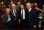 30 November 2018; Republic of Ireland supporter Davy Keogh with, from left, Lord Mayor of Dublin Nial Ring, UEFA President Aleksander Ceferin, FAI President Donal Conway and John Delaney, CEO, Football Association of Ireland, and the Henri Delaunay trophy in attendance at a EURO88 Republic of Ireland squad reception at the Mansion House in Dublin. Photo by Stephen McCarthy/Sportsfile