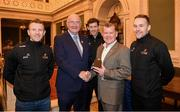 30 November 2018; Uachtarán Chumann Lúthchleas Gael John Horan makes a presentation to William Ivers, Philadelphia City Council - Technical Staff, who has his roots in Crossmolina, Co Mayo, with Mayo players, from left, Colm Boyle, David Clarke and Andy Moran, right, during a visit by the PwC All Stars to the Philadelphia City Hall during the PwC All Stars tour of Philadelphia, PA in the USA. Photo by Ray McManus/Sportsfile
