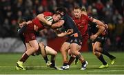 30 November 2018; Chris Farrell of Munster is tackled by George Daly and Juan Pablo Socino of Edinburgh during the Guinness PRO14 Round 10 match between Munster and Edinburgh at Irish Independent Park in Cork. Photo by Diarmuid Greene/Sportsfile