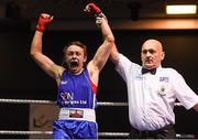 30 November 2018; Lois Walsh of Castlebar, Mayo, celebrates after defeating Emma O'Neill of St Nicholas, Tipperary, after their 54kg final bout during the IABA National Senior Championships at the National Stadium in Dublin. Photo by Harry Murphy/Sportsfile