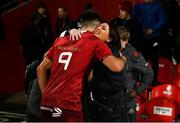 30 November 2018; Conor Murray of Munster is greeted by Olive Foley, wife of the late Anthony Foley, after the Guinness PRO14 Round 10 match between Munster and Edinburgh at Irish Independent Park in Cork. Photo by Diarmuid Greene/Sportsfile