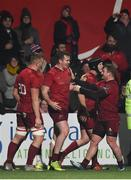 30 November 2018; Chris Farrell of Munster is congratulated by team-mates Gavin Coombes and Chris Cloete after scoring his side's last try of the game during the Guinness PRO14 Round 10 match between Munster and Edinburgh at Irish Independent Park in Cork. Photo by Diarmuid Greene/Sportsfile