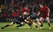 30 November 2018; Gavin Coombes of Munster, supported by team-mate Chris Farrell, is tackled by Jamie Hodgson and George Daly of Edinburgh during the Guinness PRO14 Round 10 match between Munster and Edinbugh at Irish Independent Park in Cork. Photo by Diarmuid Greene/Sportsfile