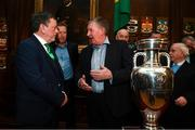 30 November 2018; FAI President Donal Conway and Kevin Sheedy in attendance at a EURO88 Republic of Ireland squad reception at the Mansion House in Dublin. Photo by Stephen McCarthy/Sportsfile