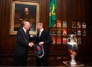 30 November 2018; UEFA President Aleksander Ceferin makes a presentation to Lord Mayor of Dublin Nial Ring at a EURO88 Republic of Ireland squad reception at the Mansion House in Dublin. Photo by Stephen McCarthy/Sportsfile