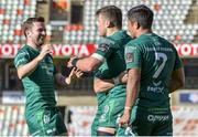 1 December 2018; Tom Farrell of Connacht, centre, celebrates with teammates after scoring his side's first try during the Guinness PRO14 Round 10 match between Toyota Cheetahs and Connacht at Toyota Stadium in Bloemfontein, South Africa. Photo by Frikkie Kapp/Sportsfile