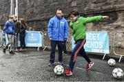 1 December 2018; Hugh Moore, age 9, during a skills game as Portuguese footballing legends Luis Figo, Nuno Gomes and Vítor Baía were in Dublin to showcase their skills at the Street Legends Community Football Event on Commons Street. The Street Football Community Football event is a joint initiative by Dublin City Council and the Football Association of Ireland ahead of the UEFA EURO 2020 Qualifying Draw in the Convention Centre on Sunday, 2nd December. The Street Legends Community Football Events kicked off on Wednesday, November 28. Other key activations include: Street Legends Community Football, Saturday, December 1, 3pm to 6pm, Commons Street, Dublin 1 with Portuguese legends Nuno Gomes and Vítor Baía. National Football Exhibition, Sunday, December 2 to Sunday, December 9, 11am-7pm, The Printworks, Dublin Castle Both events are free to attend and open to all ages and abilities. Photo by Sam Barnes/Sportsfile