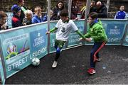1 December 2018; Hugh Moore, age 9, right, and Josh Gafney, age 9, from Donabate, during a skills game as Portuguese footballing legends Luis Figo, Nuno Gomes and Vítor Baía were in Dublin to showcase their skills at the Street Legends Community Football Event on Commons Street. The Street Football Community Football event is a joint initiative by Dublin City Council and the Football Association of Ireland ahead of the UEFA EURO 2020 Qualifying Draw in the Convention Centre on Sunday, 2nd December. The Street Legends Community Football Events kicked off on Wednesday, November 28. Other key activations include: Street Legends Community Football, Saturday, December 1, 3pm to 6pm, Commons Street, Dublin 1 with Portuguese legends Nuno Gomes and Vítor Baía. National Football Exhibition, Sunday, December 2 to Sunday, December 9, 11am-7pm, The Printworks, Dublin Castle Both events are free to attend and open to all ages and abilities. Photo by Sam Barnes/Sportsfile