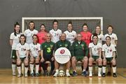 1 December 2018; Head coach David Bell with Pat Behan, front row, third from left, Goalkeeper coach and assistant coach Ben O'Looney with, back row, from left, Emma Barrow, Catherine Grier, Jade Kavanagh, Emma O'Higgins, Beth Kelly, Denise Doran, Rebekah Grant, Helen Ward, front row from left, Shauna Hamilton, Sabrina Hanley, team captain Laura Clarke and Kirsten Kelly during the Irish Deaf Women's Futsal Team at Swan Leisure Centre in Rathmines, Dublin. Photo by Matt Browne/Sportsfile