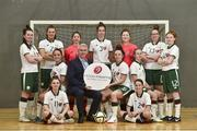 1 December 2018; Stephen Leddy, Managing Director of Hidden Hearing, with team captain Laura Clarke and back row, from left, Emma Barrow, Catherine Grier, Jade Kavanagh, Emma O'Higgins, Denise Doran, Beth Kelly, Helen Ward, front row, from left, Shauna Hamilton, Sabrina Hanley, Rebekah Grant and Kirsten Kelly during the Irish Deaf Women's Futsal Team at Swan Leisure Centre in Rathmines, Dublin. Photo by Matt Browne/Sportsfile