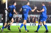 1 December 2018; Dave Kearney, 11, of Leinster celebrates with team-mates Conor O'Brien, left, and Ed Byrne after scoring his side's first try during the Guinness PRO14 Round 10 match between Dragons and Leinster at Rodney Parade in Newport, Wales. Photo by Ramsey Cardy/Sportsfile