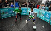 1 December 2018;  Hugh Moore, age 9, left, and Josh Gafney, age 9, from Donabate, during a skills game Portuguese footballing legends Luís Figo, Nuno Gomes and Vítor Baía were in Dublin to showcase their skills at the Street Legends Community Football Event on Commons Street. The Street Football Community Football event is a joint initiative by Dublin City Council and the Football Association of Ireland ahead of the UEFA EURO 2020 Qualifying Draw in the Convention Centre on Sunday, 2nd December. The Street Legends Community Football Events kicked off on Wednesday, November 28. Other key activations include: Street Legends Community Football, Saturday, December 1, 3pm to 6pm, Commons Street, Dublin 1 with Portuguese legends Nuno Gomes and Vítor Baía. National Football Exhibition, Sunday, December 2 to Sunday, December 9, 11am-7pm, The Printworks, Dublin Castle Both events are free to attend and open to all ages and abilities. Photo by Sam Barnes/Sportsfile