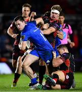 1 December 2018; Conor O'Brien of Leinster is tackled by Hallam Amos and Aaron Wainwright of Dragons during the Guinness PRO14 Round 10 match between Dragons and Leinster at Rodney Parade in Newport, Wales. Photo by Ramsey Cardy/Sportsfile