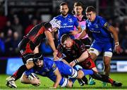 1 December 2018; Scott Fardy of Leinster is tackled by Ollie Griffiths, left, and Lloyd Fairbrother of Dragons during the Guinness PRO14 Round 10 match between Dragons and Leinster at Rodney Parade in Newport, Wales. Photo by Ramsey Cardy/Sportsfile