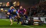 1 December 2018; Dave Kearney of Leinster is tackled by Jared Rosser of Dragons during the Guinness PRO14 Round 10 match between Dragons and Leinster at Rodney Parade in Newport, Wales. Photo by Ramsey Cardy/Sportsfile