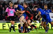 1 December 2018; Conor O'Brien of Leinster is tackled by Jarryd Sage of Dragons during the Guinness PRO14 Round 10 match between Dragons and Leinster at Rodney Parade in Newport, Wales. Photo by Ramsey Cardy/Sportsfile
