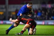 1 December 2018; Michael Bent of Leinster is tackled by Ryan Bevington of Dragons during the Guinness PRO14 Round 10 match between Dragons and Leinster at Rodney Parade in Newport, Wales. Photo by Ramsey Cardy/Sportsfile