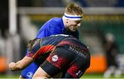 1 December 2018; James Tracy of Leinster is tackled by Jarryd Sage of Dragons during the Guinness PRO14 Round 10 match between Dragons and Leinster at Rodney Parade in Newport, Wales. Photo by Ramsey Cardy/Sportsfile