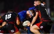 1 December 2018; Michael Bent of Leinster is tackled by Leon Brown, left, and Ryan Bevington of Dragons during the Guinness PRO14 Round 10 match between Dragons and Leinster at Rodney Parade in Newport, Wales. Photo by Ramsey Cardy/Sportsfile