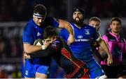 1 December 2018; Caelan Doris of Leinster is tackled by Jordan Williams of Dragons during the Guinness PRO14 Round 10 match between Dragons and Leinster at Rodney Parade in Newport, Wales. Photo by Ramsey Cardy/Sportsfile