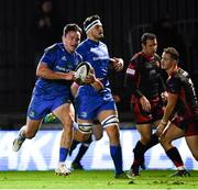 1 December 2018; Hugo Keenan of Leinster runs in his side's sixth try during the Guinness PRO14 Round 10 match between Dragons and Leinster at Rodney Parade in Newport, Wales. Photo by Ramsey Cardy/Sportsfile