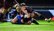 1 December 2018; Bryan Byrne of Leinster dives over to score his side's seventh try despite the tackle of Jordan Williams of Dragons during the Guinness PRO14 Round 10 match between Dragons and Leinster at Rodney Parade in Newport, Wales. Photo by Ramsey Cardy/Sportsfile
