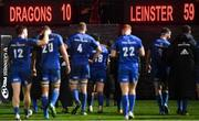 1 December 2018; A view of the final scoreboard following the Guinness PRO14 Round 10 match between Dragons and Leinster at Rodney Parade in Newport, Wales. Photo by Ramsey Cardy/Sportsfile