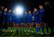 1 December 2018; The Leinster team huddle following their victory in the Guinness PRO14 Round 10 match between Dragons and Leinster at Rodney Parade in Newport, Wales. Photo by Ramsey Cardy/Sportsfile