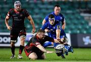 1 December 2018; Caelan Doris of Leinster in action against Lloyd Fairbrother of Dragons during the Guinness PRO14 Round 10 match between Dragons and Leinster at Rodney Parade in Newport, Wales. Photo by Ramsey Cardy/Sportsfile