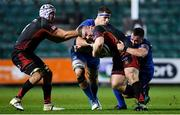 1 December 2018; Lloyd Fairbrother of Dragons is tackled by Caelan Doris, left, and Bryan Byrne of Leinster during the Guinness PRO14 Round 10 match between Dragons and Leinster at Rodney Parade in Newport, Wales. Photo by Ramsey Cardy/Sportsfile