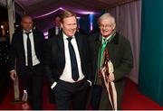 1 December 2018; Netherlands head coach Ronald Koeman, left, and FAI Board Member Paraic Treanor, Chairman of Legal & Corporate Affairs Committee, arrive prior to the UEFA EURO2020 Qualifying Draw Official Dinner at the Mansion House in Dublin. Photo by Stephen McCarthy/Sportsfile
