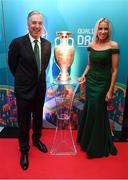 1 December 2018; John Delaney, CEO, Football Association of Ireland, and his partner Emma English in attendance during the UEFA EURO2020 Qualifying Draw Official Dinner at the Mansion House in Dublin. Photo by Stephen McCarthy/Sportsfile