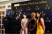1 December 2018; Dublin players from left, Sinéad Aherne, Carla Rowe and Sinéad Goldrick speaking with Gráinne McElwain of TG4 during a Facebook Live show prior to the TG4 All Star awards during the TG4 Ladies Football All Stars Awards 2018, in association with Lidl, at the Citywest Hotel in Dublin. Photo by Brendan Moran/Sportsfile
