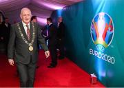 1 December 2018; Lord Mayor of Dublin Nial Ring arrives prior to the UEFA EURO2020 Qualifying Draw Official Dinner at the Mansion House in Dublin. Photo by Stephen McCarthy/Sportsfile