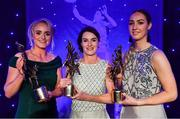 1 December 2018; TG4 Senior Players' Player of the Year Sinéad Aherne of Dublin, centre, with Junior Players' Player of the Year Kate Flood of Louth, right, and Intermediate Players' Player of the Year Neamh Woods of Tyrone, with their awards during the TG4 Ladies Football All Stars Awards 2018, in association with Lidl, at the Citywest Hotel in Dublin. Photo by Brendan Moran/Sportsfile