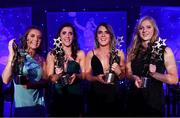 1 December 2018; Cork players, from left, Emma Spillane, Ciara O'Sullivan, Doireann O'Sullivan and Róisín Phelan, with their TG4 All Star awards during the TG4 Ladies Football All Stars Awards 2018, in association with Lidl, at the Citywest Hotel in Dublin. Photo by Brendan Moran/Sportsfile