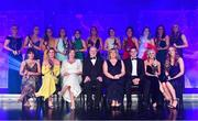 1 December 2018; The 2018 Ladies Football TG4 All Star team, back row, from left, Neamh Woods of Tyrone, Lauren Magee of Dublin, Sinéad Goldrick of Dublin, Emma Spillane of Cork, Sarah Houlihan of Kerry, Doireann O'Sullivan of Cork, Sinéad Aherne of Dublin, Lyndsey Davey of Dublin, Noelle Healy of Dublin, Ciara O'Sullivan of Cork and Róisín Phelan of Cork with front row, from left, Siobhán McGrath of Dublin, Sinéad Burke of Galway, Helen O'Rourke, CEO of the Ladies Gaelic Football Association, Ard Stiúrthóir TG4 Alan Esslemont, LGFA President Marie Hickey, MD Lidl Ireland JP Scally, Treasa Doherty of Donegal and Ciara Trant of Dublin during the TG4 Ladies Football All Stars Awards 2018, in association with Lidl, at the Citywest Hotel in Dublin. Photo by Brendan Moran/Sportsfile