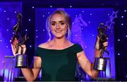1 December 2018; Intermediate Players' Player of the Year Neamh Woods of Tyrone with her All Star award and Players' Player of the Year during the TG4 Ladies Football All Stars Awards 2018, in association with Lidl, at the Citywest Hotel in Dublin. Photo by Brendan Moran/Sportsfile