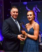1 December 2018; Lauren Magee of Dublin with her father Johnny Magee and her All Star award during the TG4 Ladies Football All Stars Awards 2018, in association with Lidl, at the Citywest Hotel in Dublin. Photo by Brendan Moran/Sportsfile