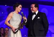 1 December 2018; Sinéad Aherne of Dublin speaking with MC Marty Morrissey after winning the TG4 Senior Players' Player of the Year Award by Ard Stiúrthóir TG4 Alan Esslemont and President of LGFA Marie Hickey during the TG4 Ladies Football All Stars Awards 2018, in association with Lidl, at the Citywest Hotel in Dublin. Photo by Brendan Moran/Sportsfile