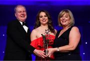 1 December 2018; Noelle Healy of Dublin is presented with her TG4 All Star award by Ard Stiúrthóir TG4, Alan Esslemont and President of LGFA Marie Hickey during the TG4 Ladies Football All Stars Awards 2018, in association with Lidl, at the Citywest Hotel in Dublin. Photo by Brendan Moran/Sportsfile