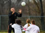 2 December 2018; PwC All Star footballer James McCarthy of Dublin with members of the Philadelphia GAA Club during a Coaching Session as part of the PwC All Stars Football tour at Philadelphia GAA Club in Limerick Field, Longview Rd, Pottstown, Philadelphia, PA, USA. Photo by Ray McManus/Sportsfile