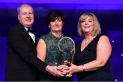 1 December 2018; Former Waterford star Marie Crotty, from Ballymacarbry, Waterford, is presented with the Hall of Fame award by Ard Stiúrthóir TG4, Alan Esslemont and President of LGFA Marie Hickey during the TG4 Ladies Football All Stars Awards 2018, in association with Lidl, at the Citywest Hotel in Dublin. Photo by Brendan Moran/Sportsfile