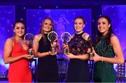 1 December 2018; Young players of the year with their awards, from left, Chellene Trill of Galway, Aoife Rattigan of Kildare,  Síofra O'Shea of Kerry and Megan Ryan of Donegal during the TG4 Ladies Football All Stars Awards 2018, in association with Lidl, at the Citywest Hotel in Dublin. Photo by Brendan Moran/Sportsfile