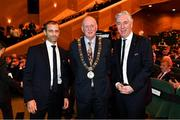 2 December 2018; UEFA President Aleksander Ceferin, left, Lord Mayor of Dublin Nial Ring, centre, and John Delaney, CEO, Football Association of Ireland, prior to during the UEFA EURO2020 Qualifying Draw at the Convention Centre in Dublin. (Photo by Harold Cunningham / UEFA via Sportsfile)