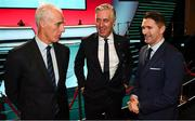 2 December 2018; Republic of Ireland manager Mick McCarthy, left, John Delaney, CEO, Football Association of Ireland, centre, and Republic of Ireland assistant coach Robbie Keane following the UEFA EURO2020 Qualifying Draw at the Convention Centre in Dublin. (Photo by Stephen McCarthy / UEFA via Sportsfile)