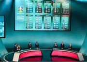 2 December 2018; A general view of the panel and groups following the UEFA EURO2020 Qualifying Draw at the Convention Centre in Dublin. Photo by Sam Barnes/Sportsfile
