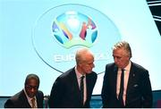 2 December 2018; Republic of Ireland assistant manager Terry Connor, left, manager Mick McCarthy, centre, and John Delaney, CEO, Football Association of Ireland following the UEFA EURO2020 Qualifying Draw at the Convention Centre in Dublin. Photo by Sam Barnes/Sportsfile