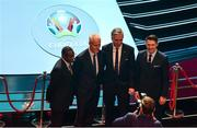 2 December 2018; From left, Republic of Ireland assistant coach Terry Connor, Republic of Ireland manager Mick McCarthy, John Delaney, CEO, Football Association of Ireland and Republic of Ireland assistant coach Robbie Keane, pose for a photograph following the UEFA EURO2020 Qualifying Draw at the Convention Centre in Dublin. Photo by Sam Barnes/Sportsfile